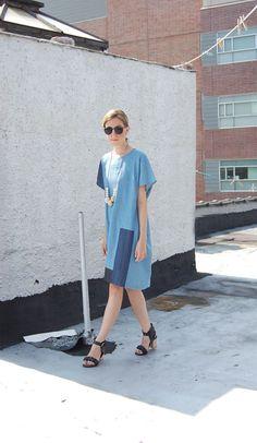 My Life in Patchwork Denim - A Detacher Denim Dress, Raia Sandstorm Necklace, Zara Sandals, Vintage Sunglasses  | DeSmitten