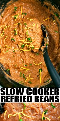 SLOW COOKER REFRIED BEANS RECIPE- Easy Mexican crockpot refried beans, homemade with simple ingredients. Rich, smooth and creamy. Loaded with pinto beans, green chiles, Mexican spices. Can also use same recipe to make refried black beans or refried red beans. From SlowCookerFoodie.com