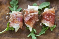 Goat Cheese, Pears, And Arugula, Wrapped With Prosciutto by kaye