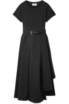 3.1 PHILLIP LIM stylish Belted black cotton-blend jersey and cotton-canvas midi dress