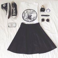 Shirt: five seconds of summer tank top white skirt circle skirt sunglasses shoes converse converse