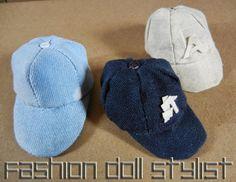 How to make a Baseball Cap for Ken or Barbie. Fashion Doll Stylist www.fashiondollstylist.blogspot.com
