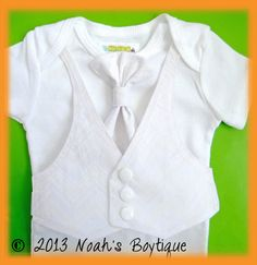 Baptism Outfit Baby Boy - Dedication Outfit for Boy - Baby Baptism Suit - Tuxedo Baby Outfit - White Chevron Vest and Tie - Baby Christening by Noah's Boytique, $25.00