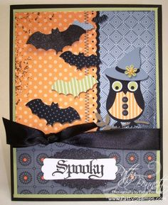 Owl punch with multiple background cards Halloween Owl, Halloween Items, Halloween Projects, Halloween Cards, Fall Cards, Holiday Cards, Holiday Ideas, Owl Punch Cards, Scrapbook Cards