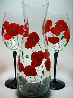 Hand Painted Glass Litre Carafe  Red Poppies by GlassWorksEtc, $42.00