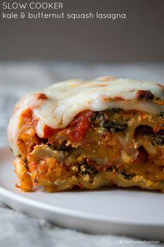 Butternut Squash and Kale Slow Cooker Lasagna
