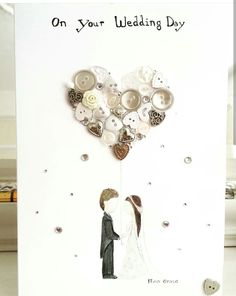 ORIGINAL ARTWORK BY ffiongrace Beautiful handmade wedding card. Watercolour personalised couple holding a love heart balloon of buttons, beads and gems. Www.facebook.com/colouredingrace