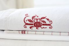 Large. French vintage hemp sheet with handmade red by Passesimple