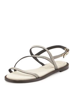 X30CT Brunello Cucinelli Monili Strappy Flat Sandal, Oat