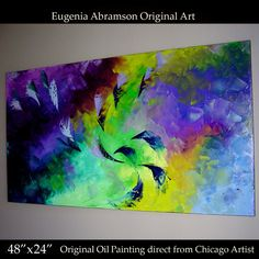Original Abstract OIL Painting Wall Decor on Canvas 48x24 Eugenia Abramson Art)) #Abstract