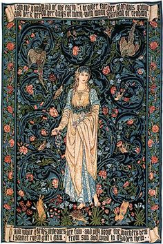 I am the handmaid of the earth,  I broider fair her glorious gown,   And deck her on her days of mirth  With many a garland of renown.  And while Earth's little ones are fain  And play about the Mother's hem,  I scatter every gift I gain  From sun and wind to gladden them.  (by William Morris & Edward Burne-Jones).
