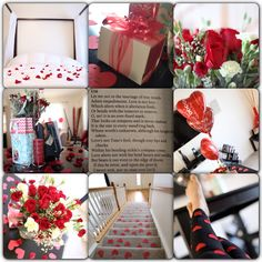 Surprise for hubby.  Hearts day. Valentine's day. Love. Cupid. Sweetness. Romance. Romantic ideas for him. Sweet. Anniversary. Heart. Flowers. Bed of roses. Gift. Present. Husband. Wife. Boyfriend. Girlfriend. Couple. Rose. Hearts. Red. Bouquet.