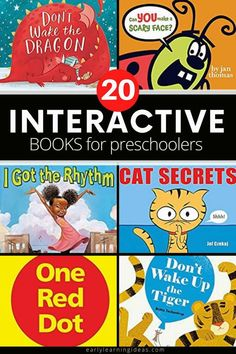 Find the best interactive books for your kids in preschool, pre-k, TK, and kindergarten. These hands-on books will get your kids excited and engaged. When you are looking for ways to make storytime fun for preschoolers, try these interactive books that include touch and feel books, lift-the-flap, and other books that require participation. Perfect for your classroom library, book center, and will work well for circle time or storytime. Interactive Books For Preschoolers, Preschool Activities At Home, Circle Time Activities, Preschool Books, Interactive Learning, Literacy Activities, Touch And Feel Book, Most Popular Books, Book Themes