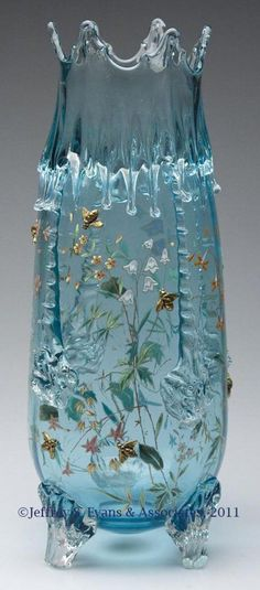 Moser decorated icicle vase, pale blue, polychrome enamel floral decoration with ten applied gold bees, raised on three applied feet, polished pontil mark. Vase Cristal, Art Of Glass, Cut Glass, Glass Ceramic, Ceramic Art, Antique Glass, Antique Bottles, Vintage Bottles, Vintage Perfume