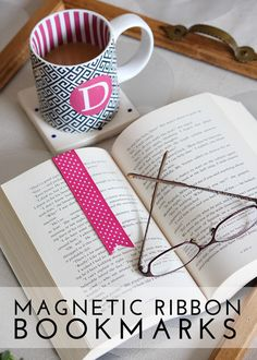 Magnetic Ribbon Bookmarks - Magnetic Ribbon Bookmarks - easy and clever DIY gift for reader or mom! Bookmarks Kids, Magnetic Bookmarks, Ribbon Bookmarks, Bible Bookmark, Bookmark Craft, Book Crafts, Crafts To Do, Bible Crafts, Diy Gifts To Make