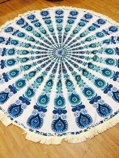 Beautiful Indian mandala round roundie beach throw yoga mat, wall decor online.. #Handmade