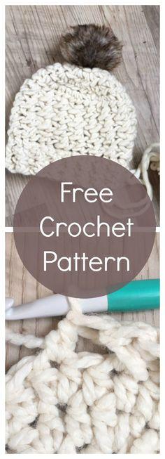 free crochet pattern hat / free hat pattern crochet / crochet beanie pattern / super bulky crochet pattern / modern crochet / crochet tutorial / fur pom pom hat