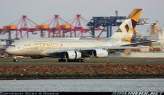 Etihad's new livery is well suited on the Airbus A380
