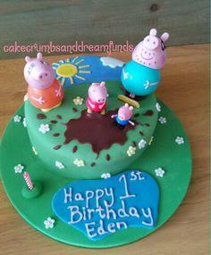 Peppa pig birthday cake 1st birthday muddy puddles