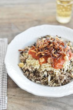 egyptian koshari - lentils, rice and pasta