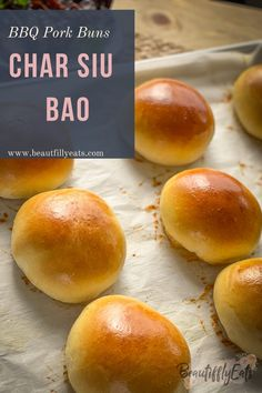 A classic Chinese baked bao. This bread is so light and fluffy you will fall in love at first bite. Inside is stuffed with a sweet and savory bbq pork filling. Get this recipe on my website! Chinese Bbq Pork Bun Recipe, Baked Pork Buns Recipe, Asian Bread Recipe, Pork Recipes, Cooking Recipes, Bread Recipes, Roast Pork Bun, Cha Recipe, Chinese Bun