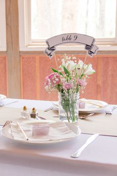 Reception table setting - the mason jar arrangements were made by my lovely bridesmaid, Rhianna!