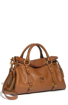 """Dooney & Bourke """"Florentine"""" Vachetta Leather Satchel. I normally don't like D&B, but the classic color and shape of this satchel, combined with the price, make it one that I would consider."""