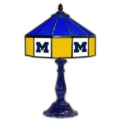"""Michigan Wolverines 21"""" Tiffany Style Table Lamp w/ Glass Base"""