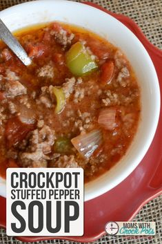 A quick and easy slow cooker dinner! Whip up a batch of this Crockpot Stuffed Pepper Soup Recipe!