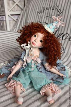 Купить Авелин! - бирюзовый, розовый, голубой, рыжий, кукла ручной работы, кукла, кукла в подарок