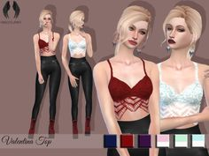 """mxfsims: """" 2000 Followers Gift Part 2 ~ Valentina Top As a second gift for hitting 2k, I decided to make this top/brassiére with a cutout design on the bottom. I hope you like it  simfileshare Credit to: @hallowsims, @trillyke, @sims4-marigold,..."""