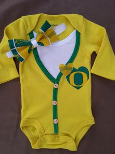 """SHE'S GOT Orє❡On ᎠucҜs'S FEVER ☝GO DUCKS. . ."" Baby Girl Oregon Ducks Cardigan w/ Headband by CoutureCardigans, $29.99"