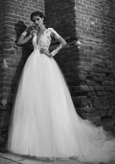 Wedding Dress Lace, Alluring Tulle V-neck Neckline A-line Wedding Dresses With Lace Appliques Unique and inexpensive wedding gowns that wow! Shop our wedding dresses online and in-store for top styles and trendy bridal looks. Wedding Dress Crafts, Sheer Wedding Dress, 2016 Wedding Dresses, Wedding Dresses Plus Size, Princess Wedding Dresses, Perfect Wedding Dress, Lace Dress, Gown Wedding, 2017 Wedding
