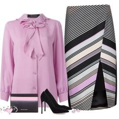 Diagonal by molly2222 on Polyvore featuring мода, Gucci, Ted Baker, Gianvito Rossi, Balenciaga, Bling Jewelry, Marc by Marc Jacobs, WorkWear, wrapskirt and diagonalstripes