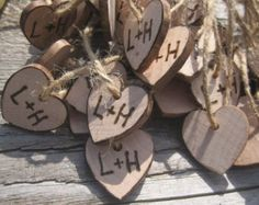 Rustic Wedding Heart Favor Tags 40 Woodburned Charms Personalized Initials Bride Groom