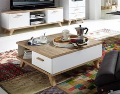 Germania Oslo Modern Oak And White Coffee Table With Drawer