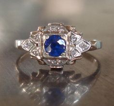 Art Deco Diamond and Sapphire Ring.  AntiqueSparkle   Etsy.