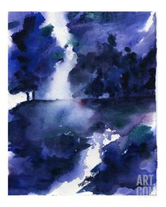 Trees Singing the Blues Stretched Canvas Print by Samantha Hallenus at Art.com