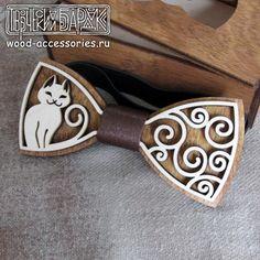 Wood bow tie Cat wooden animelistic unisex by WoodenAccessoriesRU