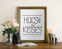 Instant 'Hug & Kisses'' Love Wall Art Print by mylovenotedesigns