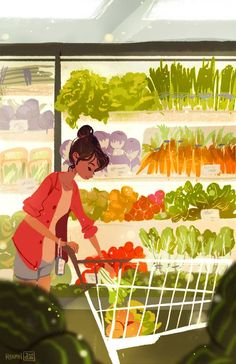 woman + illustration + vegetable + market + colorfull ++ [500×773]