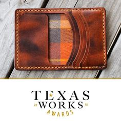 Well aren't we fancy. The Highwayman made it as a semi-finalist in the Texas Works Awards presented by Go Texan and we could use your… Leather Wallet Pattern, Handmade Leather Wallet, Leather Card Wallet, Leather Gifts, Leather Pouch, Leather Tooling, Small Leather Wallet, Leather Workshop, Leather Projects