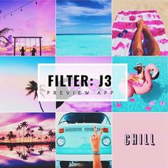 Pastel Instagram theme ideas, with pastel filter J3 in Preview App. About pastel filter J3: • Bright • Amazing for blue in photos • Blue becomes bright, smooth & super turquoise • Brings out the pinks in photos • Beautiful for sunsets • Good for a saturated, bright, pastel theme