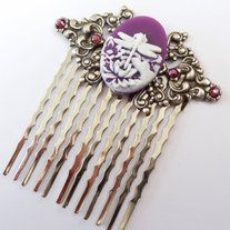 Filigree hair comb consist of silver coloured metal comb and a brass ornament.  The ornament is decorated with a beautiful cameo with dragonfly and water lilly in purple-white and high quality rhinestones. The comb measures 6,2 L x 5,5 W cm. IF YOU WANT TO BUY A SECOND HAIR COMB PLEASE CONTACT...