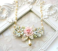 Shabby Roses Bridal Necklace  Shabby Roses Bib by VRBBoutique