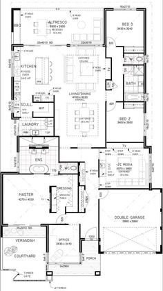 There's a lot neat about this plan - master veranda, study next door, living and patio arrangement, media room. No exterior or sf. Home Design Floor Plans, House Floor Plans, Best House Plans, Small House Plans, The Sims, Three Bedroom House Plan, House Blueprints, Sims House, Facade House
