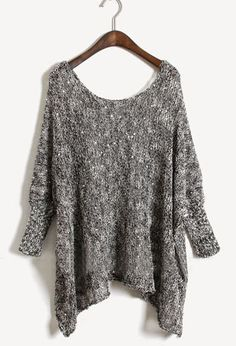 Grey Batwing Long Sleeve Loose Sweater. This is so my kind of style. Love it.