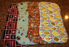 Absorbent baby burp cloths... perfect size for your shoulder! Done in soft flannel with a layer of quilt batting in the middle.