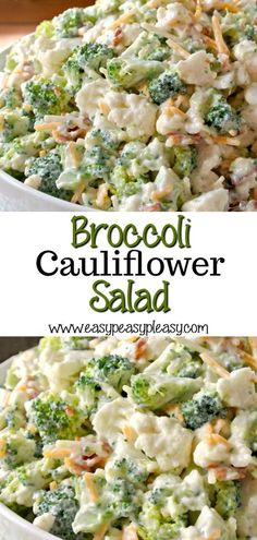 Deliciously Sweet Broccoli Cauliflower Salad is the perfect sweet and savory dish for potlucks, family gatherings, holidays, and cookouts. Bacon adds the perfect salty bite. for parties Deliciously Sweet Broccoli Cauliflower Salad - Easy Peasy Pleasy Potluck Dishes, Veggie Dishes, Savoury Dishes, Vegetable Recipes, Food Dishes, Potluck Salad, Cookout Side Dishes, Vegetable Salad Recipes, Fruit Dishes