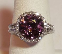 Vintage Natural 4.38ct Lavender Spinel Diamond 14k White Gold Alternative Engagement Ring Art Deco Style Diamond Halo by DiamondAddiction on Etsy